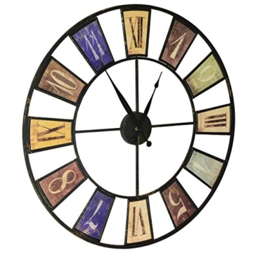 Sonderpreis! Moderne design Wohnzimmer Wanduhr groß mit Quarz-Uhrwerk XXL Ø60cm ausgefallene vintage Uhr - 2