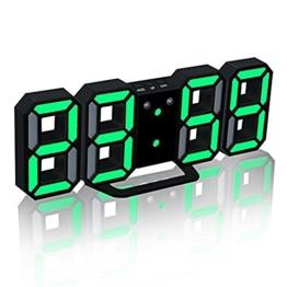 TRADE® LED Elektronische Wanduhr, Digital 3D LED Tabelle Wecker 24/12 Stundenanzeige Kunststoff Wecker Snooze Uhr Helligkeit automatisch einstellen (Schwarz, Grün) - 1