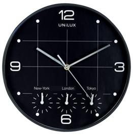 UNILUX 400094567 Wanduhr On Time schwarz Weltuhr Weltzeit-Uhr Global geeignet für Läden, Büros, lokalen New York London Paris Hong Kong 30 cm - 1