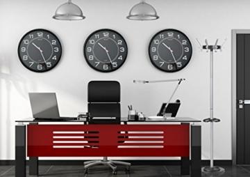 UNILUX 400094568 riesen Wanduhr Mega in schwarz - große Wanduhr, deutsche Präzision mit Quarzwerk, Analoge Uhr für große Räume - 2