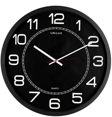 UNILUX 400094568 riesen Wanduhr Mega in schwarz - große Wanduhr, deutsche Präzision mit Quarzwerk, Analoge Uhr für große Räume - 1