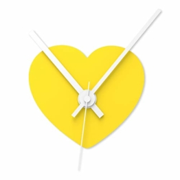 """Wandkings Wanduhr SOLO CLOCK """"Herz"""" mit Uhrwerk & Uhrzeigern - in 13 Farben erhältlich (Farbe: Uhr=Gelb glänzend, Zeiger=Weiß) - 1"""