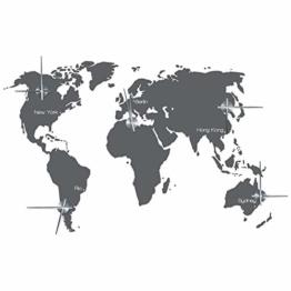 "WANDKINGS ""Zeitzonen Weltkarte Wanduhr Wandtattoo (Farbe: Uhr=Silber, Aufkleber=Dunkelgrau) - 1"