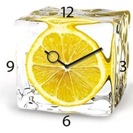 Wanduhr aus Glas für die Küche, Iced Lemon, Zitrone im Eiswürfel, gelb, 30x30 cm von Eurographics - 1