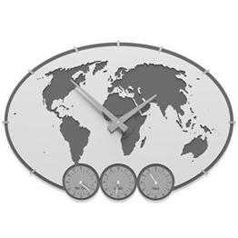 Wanduhr Greenwich mit Zeitzonen Farbe Weiß 59cm x 41cm Made in Italy - 1