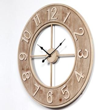 Wanduhr Groß XXL Lautlos, CT-Tribe Große XXL Metall MDF Ø60cm Wohnzimmer Wanduhr Riesen Vintage Uhr Wall Clock ohne Tickgeräusche - 2