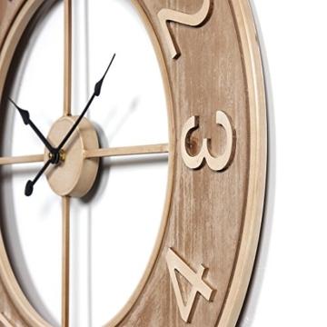 Wanduhr Groß XXL Lautlos, CT-Tribe Große XXL Metall MDF Ø60cm Wohnzimmer Wanduhr Riesen Vintage Uhr Wall Clock ohne Tickgeräusche - 3