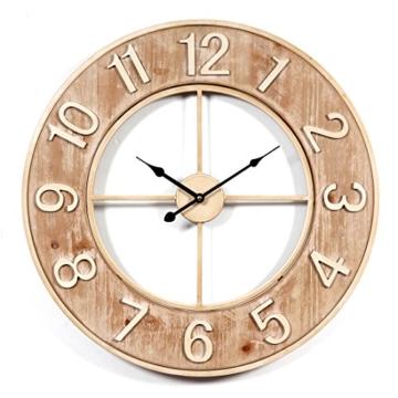 Wanduhr Groß XXL Lautlos, CT-Tribe Große XXL Metall MDF Ø60cm Wohnzimmer  Wanduhr Riesen Vintage Uhr Wall Clock ohne Tickgeräusche