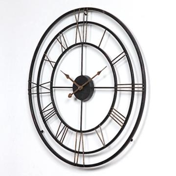 Wanduhr Groß XXL Lautlos, CT-Tribe Große XXL Metall Ø60cm Wohnzimmer Wanduhr Riesen Vintage Uhr ohne Tickgeräusche - 2