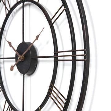 Wanduhr Groß XXL Lautlos, CT-Tribe Große XXL Metall Ø60cm Wohnzimmer Wanduhr Riesen Vintage Uhr ohne Tickgeräusche - 3
