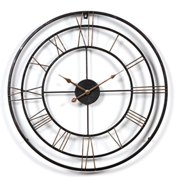 Wanduhr Groß XXL Lautlos, CT-Tribe Große XXL Metall Ø60cm Wohnzimmer Wanduhr Riesen Vintage Uhr ohne Tickgeräusche - 1