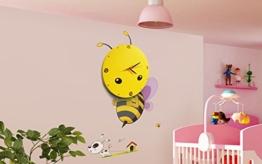 """Wanduhr im """"Bienchen"""" Design - Gelb ca. 28 cm Durchmesser - Kreative Kinderzimmer Uhr Inklusive Wandtatto - Grinscard - 1"""
