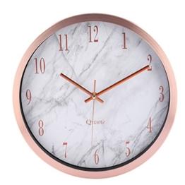 Wanduhr Lautlos, Foxom 12 Zoll Modern Lautlose Wanduhren Uhr Wall Clock Wanduhr ohne Tickgeräusche mit Marmor Textur (Rose Gold) - 1