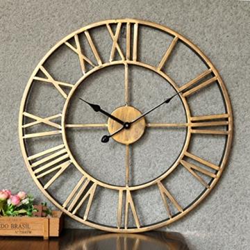 Wanduhr Vintage, Foxom Ø 50cm Vintage Wanduhr Küchenuhr Uhr Uhren Wall Clock ohne ca. Ø 20 Zoll/50cm (Golden) - 2