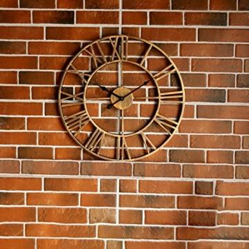 Wanduhr Vintage, Foxom Ø 50cm Vintage Wanduhr Küchenuhr Uhr Uhren Wall Clock ohne ca. Ø 20 Zoll/50cm (Golden) - 5
