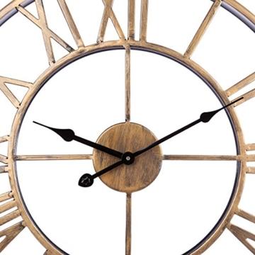Wanduhr Vintage, Foxom Ø 50cm Vintage Wanduhr Küchenuhr Uhr Uhren Wall Clock ohne ca. Ø 20 Zoll/50cm (Golden) - 6