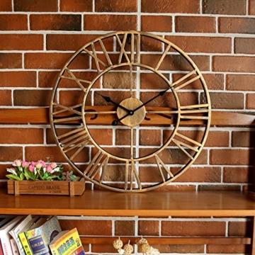 Wanduhr Vintage, Foxom Ø 50cm Vintage Wanduhr Küchenuhr Uhr Uhren Wall Clock ohne ca. Ø 20 Zoll/50cm (Golden) - 7