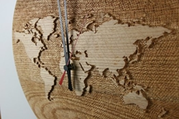 Weltuhr Uhr Wanduhr mit Weltrelief aus Roteiche konvex lautlos Durchmesser 38,5cm Unikat - 1