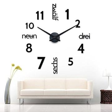 XXL 3D Schwarze Riesen Designer Wanduhr Wohnzimmer Dekoration Wandtatoo mit deutschem Zifferblatt aus Acryl - 2