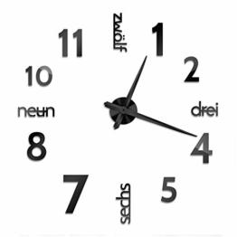 XXL 3D Schwarze Riesen Designer Wanduhr Wohnzimmer Dekoration Wandtatoo mit deutschem Zifferblatt aus Acryl - 1