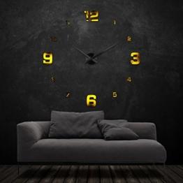 XXL3D Riesen Wanduhr – NUMBRS V Gold Black - 1