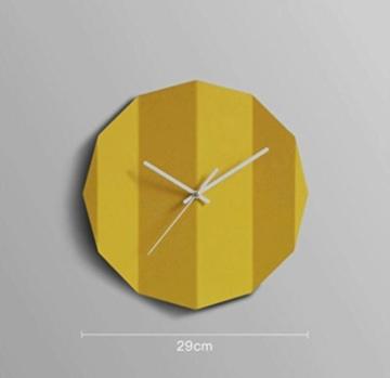 YYF Wanduhr Kreative Wanduhr Dekorative Wohnzimmer Moderne einfache Kunst Stylish Mute Individuelle Origami Uhr ( Farbe : Gelb ) - 1