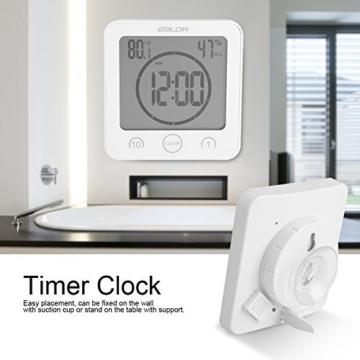 Badezimmeruhr Wasserdichte Dusche Uhr Timer Saugnapf Digital LCD Display  Thermometer Hygrometer Silent Wanduhr Timer Küche Badezimmer(Weiß)