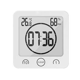 BODECIN Wasserdicht Digitales Badezimmer Dusche Clock mit Großem LCD Display Luftfeuchtigkeit Temperatur Display Timer, Intelligente Touch-Control für Badezimmer Dusche Make-up Cooking - 1