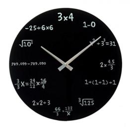 CEBEGO Colle Wanduhr Mathematik schwarz & Kühlmagnet LACHEN, Mathe-Küchenuhr,Kids Uhr - 1