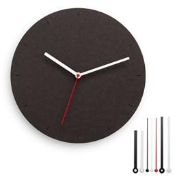 CLOKK 1-SS - Individualisierbare Minimal Designer Wanduhr schwarz, Ø 30 cm aus MDF mit leisem Uhrwerk ohne Ticken, inkl. 7 Zeigern, ideal für Zuhause und Büro - 1