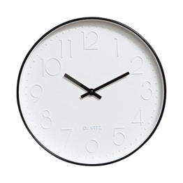 Dobess 12 Zoll Modern Quartz Lautlos Wanduhr Schleichende Sekunde ohne Ticken (Schwarz) - 1