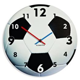 Einzigartige Wanduhr für Kinder Fußball, leise nicht ticken, oval, 30 cm, Acryl, für Kinderzimmer, Kindergarten, Schule, made in EU - 1