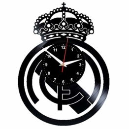 EVEVO Real Madrit Wanduhr Vinyl Schallplatte Retro-Uhr groß Uhren Style Raum Home Dekorationen Tolles Geschenk Wanduhr Real Madrid - 1