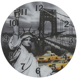 Glas Uhr Amerika Freiheitsstatue New York Durchmesser 28 cm, Wanduhr im Vintage Look mit Statue of Liberty Motiv, ausgefallenes Geschenk für USA und Retro Fans - 1