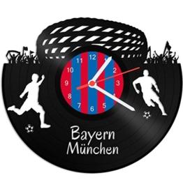 GRAVURZEILE Schallplattenuhr Bayern München - 100% Vereinsliebe - Upcycling Design Wanduhr aus Vinyl Made in Germany - 1