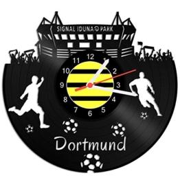 GRAVURZEILE Schallplattenuhr Dortmund - 100% Vereinsliebe - Upcycling Design Wanduhr aus Vinyl Made in Germany - 1