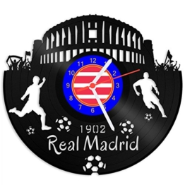 GRAVURZEILE Schallplattenuhr Real Madrid - 100% Vereinsliebe - Upcycling Design Wanduhr aus Vinyl Made in Germany - 1