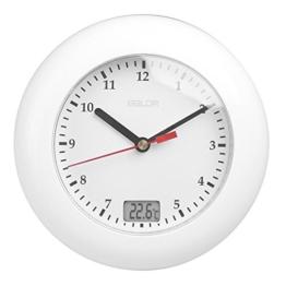 GuDoQi Wasserdichte Analoge Badezimmer Uhr Saugnäpfe Temperatursensor Digital Thermometer Wanduhr Dusche Timer Weiß - 1