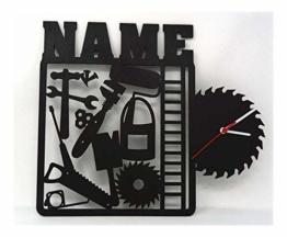 Heimwerker Handwerker Wand Uhr mit Namen lustige witzige Zubehör Geschenke für Werkzeug Arbeiter Büro Werkstatt Deko - 1