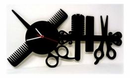 Individuelle Holz Wand-Uhr Friseur-Geschenk Schere lustige witzige Haar-Schneide Frauen-Geschenke individuell für Freund-in Friseure Friseur-Salon Haarstudio Style - Made in Hessen - 1