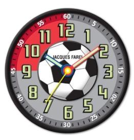 JACQUES FAREL Kinderwanduhr Jungen Fußball ohne Ticken, mit Leuchtzeiger und Leuchtziffern WAL 10 - 1