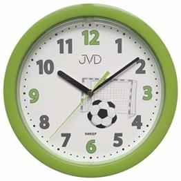 JVD HP612.D4 Wanduhr für Kinder Fußball grün Kinderwanduhr Fußballuhr - 1