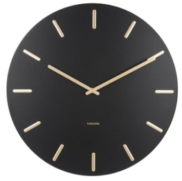 Karlsson Present Time Wanduhr - Charm - schwarz/Gold - Ø 45cm - Höhe 3,5 cm - 1