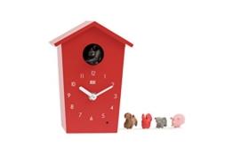 KOOKOO AnimalHouse Rot, Moderne kleine Kuckucksuhr mit 5 Bauernhoftieren, Aufnahmen aus der Natur Moderne witzige Design Uhr - 1
