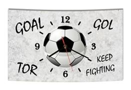 LAUTLOSE Designer Wanduhr Fußball grau Tor Goal Gol modern Dekoschild Abstrakt Bild 38 x 25cm - 1