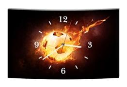 LAUTLOSE Designer Wanduhr Fußball schwarz modern Dekoschild Abstrakt Bild 38 x 25cm - 1