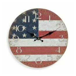 levandeo Wanduhr aus Holz 29cm - Motiv: Amerika USA Flagge Fahne Stars and Stripes - Küchenuhr Uhr - Quartzuhr - 1
