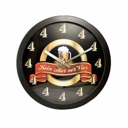 Monsterzeug Kein Bier vor Vier Uhr, Kein Bier vor 4, Bieruhr, Uhr mit lauter Vieren, Lustige Wanduhr, Witzige Wanduhr - 1