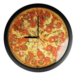 Monsterzeug Pizzauhr, Motivuhr, Moderne Wanduhr, Witzige Küchenuhr, Batteriebetrieb, Pizza Geschenk, 30 cm - 1