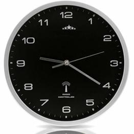 Monzana Wanduhr Funk Ø 31 cm Groß Silber Schwarz Automatische Zeitumstellung Geräuscharm Modern - Funkuhr Funkwanduhr Uhr - 1